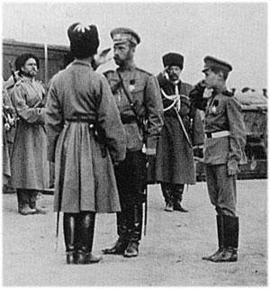 Государь с Цесаревичем на фронте. 1916г.