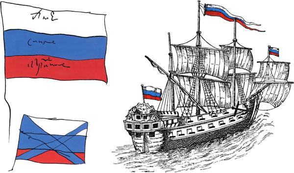 Собственноручный рисунок Царя Петра І (1699) и Корабль «Крепость» (по рисунку Христиана Отто, 1700)