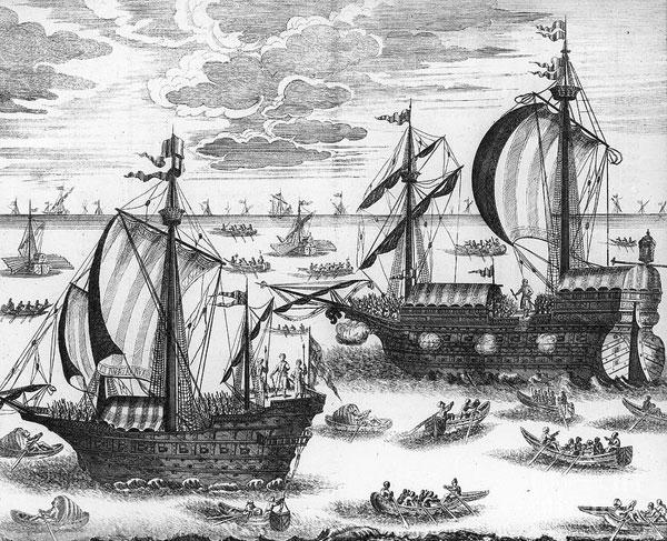 Русский Азовский флот. 1699. Гравюра из «Дневника» И. Корба. 1698–1699