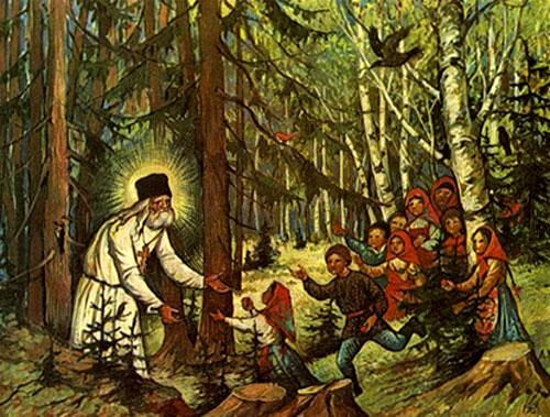 Преподобный Серафим Саровский встречает детей
