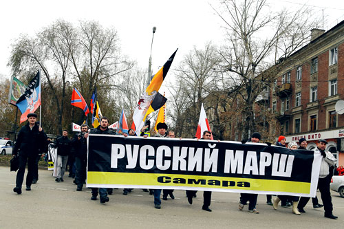 Русский Марш 2014 Самара. Переходим ул. Победы
